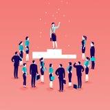 Dirigez l'illustration plate avec la dame réussie d'affaires se tenant sur le podium devant la foule de personnes de bureau d'iso Photographie stock