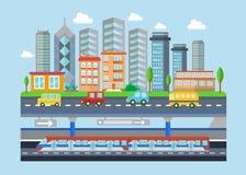Dirigez l'illustration plate de concept de paysage moderne urbain de ville Souterrain, voitures, bâtiments et gratte-ciel futés d illustration stock