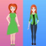 Dirigez l'illustration plate de deux femmes de stature différente illustration de vecteur