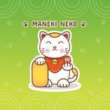 Dirigez l'illustration plate de gradient, le Maneki blanc Neko et le backgro illustration stock