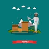 Dirigez l'illustration plate de l'apiarist travaillant au rucher Photographie stock