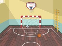 Dirigez l'illustration plate de la pièce de sport dans l'institut, université, université, école Basket-ball, football et ballons Images libres de droits