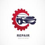 Dirigez l'illustration plate de la voiture de sport en dents de vitesses Lo abstrait illustration libre de droits