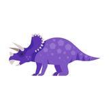 Dirigez l'illustration plate de style de l'animal préhistorique - Triceratops Image libre de droits