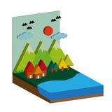 Dirigez l'illustration plate de style du paysage avec la mer, îles, Image stock
