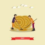Dirigez l'illustration plate des travailleurs de ferme recueillant le foin illustration stock