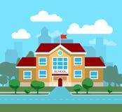 Dirigez l'illustration plate du bâtiment scolaire, pour l'affiche, la bannière, etc. Image stock