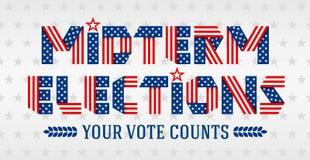 Dirigez l'illustration pour des élections à moyen terme faites de rubans pliés Photo libre de droits