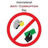 Dirigez l'illustration pour le jour international d'Anti-corruption avec les icônes symboliques de l'argent Image libre de droits