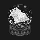Dirigez l'illustration pour les affiches de la nouvelle année 2018 et les cartes de voeux, globe de neige de zentangle de griffon Photos stock