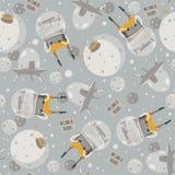 Dirigez l'illustration sans couture mignonne avec de beaux étrangers, vaisseau spatial et peu de planète Couleurs grises et jaune illustration stock