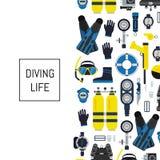 Dirigez l'illustration sous-marine d'équipement de plongée dans le style plat illustration stock
