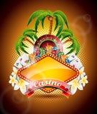 Dirigez l'illustration sur un thème de casino avec la roue et le ruban de roulette. Image stock
