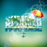 Dirigez l'illustration sur un thème de vacances d'été avec le parasol sur le fond brouillé illustration de vecteur