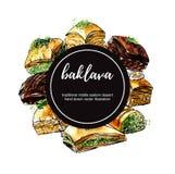Dirigez l'illustration tirée par la main d'aquarelle avec la baklava turque de dessert en composition en cercle Images stock
