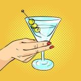 Dirigez l'illustration tirée par la main d'art de bruit de la main de femme jugeant Martini en verre Photos stock