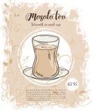 Dirigez l'illustration tirée par la main des pages de menu de boissons avec la tasse de thé de masala illustration libre de droits