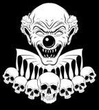 Dirigez l'illustration tirée par la main du clown fâché avec les crânes humains illustration libre de droits