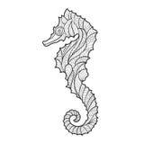 Dirigez l'illustration tirée par la main monochrome de zentagle de l'hippocampe Photo libre de droits