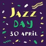 Dirigez l'illustration tirée par la main pour le jour international de jazz avec le lettrage expressif jaune et vert sur le pourp illustration de vecteur