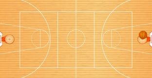 Dirigez l'illustration un terrain de basket, la vue supérieure, une boule dans le panier, secteur de tournoi, sport collectif Image libre de droits