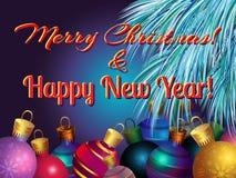 Dirigez l'image avec des branches de sapin et des boules de Noël Image stock