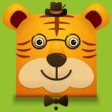 Dirigez l'image d'un visage mignon de hippie de grand chat Style carré Images stock