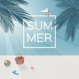 Dirigez l'image d'une plage avec le palmier et la mer Scène de coucher du soleil de plage Fond d'été Images libres de droits