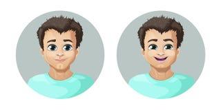 Dirigez l'image de bande dessinée d'un ensemble de type avec les cheveux bruns exprimant de diverses émotions faciales : joie et  Images libres de droits