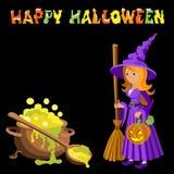 Dirigez l'image de bande dessinée de la sorcière drôle avec la robe pourpre de cheveux rouges et le chapeau aigu, se tenant à côt Photo stock