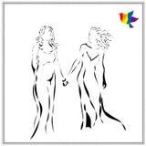 Dirigez l'image de jeunes beaux couples lesbiens attendant le bébé dans le style abstrait, dessinant dans la ligne noire Photo libre de droits