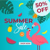 Dirigez l'image de la bannière avec la vente-réclame d'été Photo libre de droits