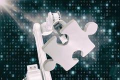 Dirigez l'image de la machine moderne tenant le puzzle 3d Photos stock
