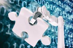 Dirigez l'image de la machine tenant le puzzle denteux 3d Photos libres de droits