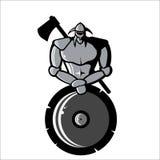 Dirigez l'image de Viking argenté avec le bouclier et la hache Images stock