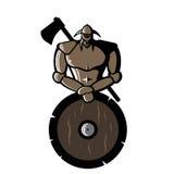 Dirigez l'image de Viking en bronze avec le bouclier et la hache Image libre de droits