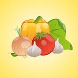 Dirigez l'image des légumes ensemble sur un fond jaune Image libre de droits