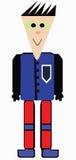 Dirigez l'image du garçon de sourire à l'aide de la veste bleue Images stock