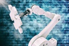 Dirigez l'image du robot tenant le puzzle 3d de jeu Photo stock