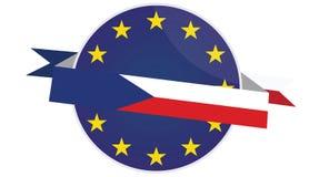 Dirigez l'insigne de République Tchèque avec le drapeau d'Union européenne Photo libre de droits