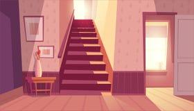 Dirigez l'intérieur avec l'escalier, escaliers dans la maison illustration de vecteur