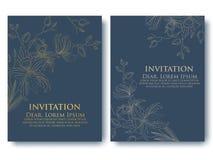 Dirigez l'invitation ou le mariage, cartes avec les éléments floraux Ornements abstraits floraux élégants illustration de vecteur