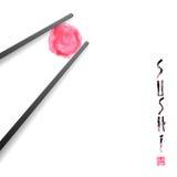 Dirigez l'élément de conception pour le menu, logo, carte Restaurant de sushi, cuisine japonaise Photo libre de droits
