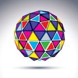 Dirigez l'objet abstrait moderne dimensionnel, boule de la disco 3d psyche illustration libre de droits