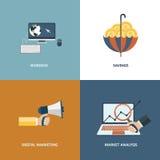 Dirigez l'opération de recouvrement, le marketing et les concepts de finances Éléments de conception pour le Web et les applicati Images libres de droits