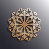Dirigez l'ornement arabe d'or sur un fond gris Images stock