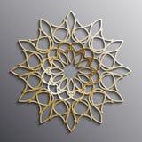 Dirigez l'ornement arabe d'or sur un fond gris Photos stock