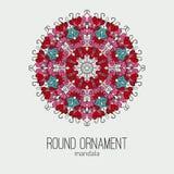 Dirigez l'ornement floral coloré tiré par la main de cercle de mandala sur le fond gris Photo libre de droits