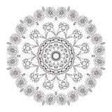 Dirigez l'ornement floral noir tiré par la main de cercle de mandala sur le fond blanc Photos stock