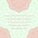 Dirigez l'ornement rond floral de dentelle d'abrégé sur carte d'invitation de mariage Image stock